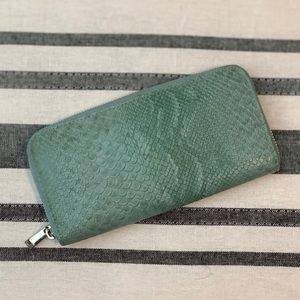 Teal snakeskin wallet